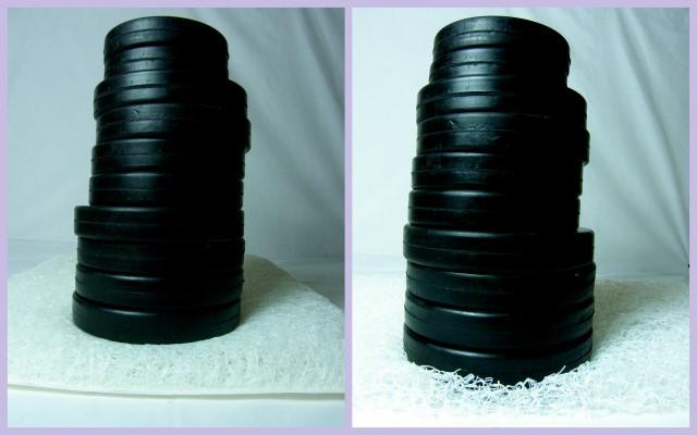 左:カークッション(重石20kgで殆ど沈み込みなし)   右: 中密度40mm厚ブレスエアー(沈み込み大)