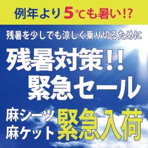 9/5(月)17:00~ 夏の緊急セール スタート!!大人気夏物商品 麻シーツ・麻ケットがだんぜんお得!!